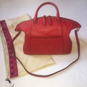 Like NEW Tory Burch Red Bombe T Slouchy Satchel